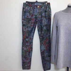 7FAM Gwenevere Orchid Floral Print Skinny Jeans 27
